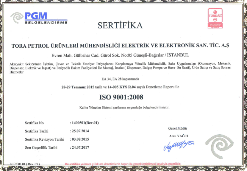 IS= 9001 Kalite Yönetim Sistemi