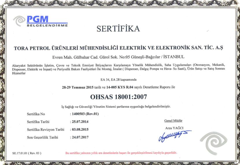 OHSAS 18001 2007 İş Sağlığı ve Güvenliği Yönetim Sistemi